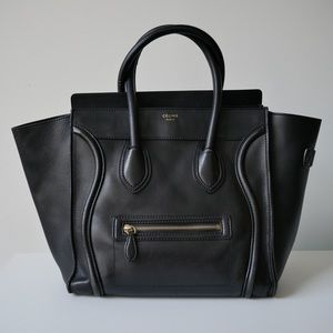 Authentic Celine Luggage Tote Black